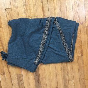 Beaded Blue Grey Fleece Logo Lounge Pants
